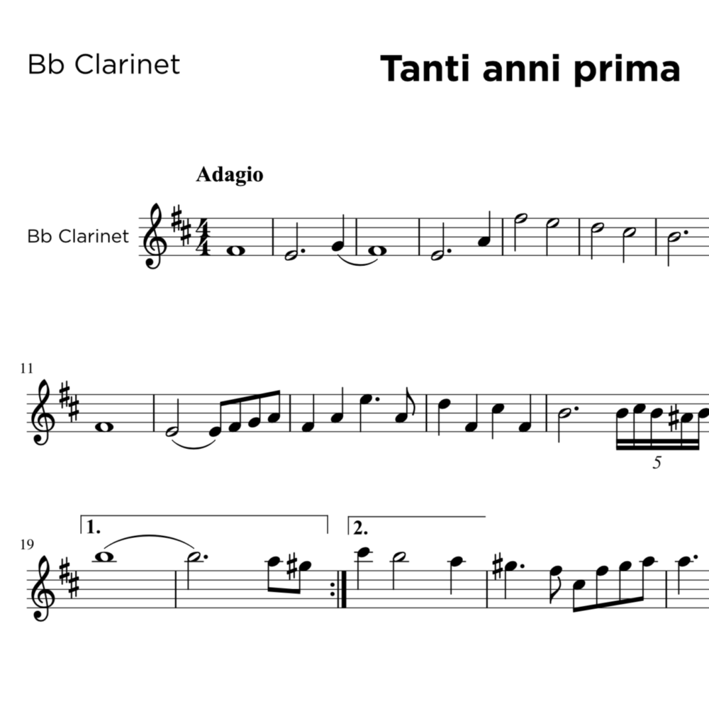 Astor Piazzolla: Tanti Anni Prima for Clarinet in B and